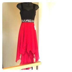 B DARLIN red black beaded high low dress sz 1/2